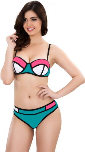 Su Yeşili Renkli Parçalı Bikini