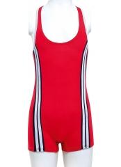 Kırmızı Şeritli Paçalı Yüzücü Garson Mayo