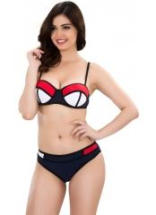 Renkli Parçalı Kaplı Straplez Bikini
