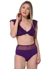 Mor Düz Fırfırlı Yüksek Bel Bikini
