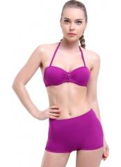 Çeşitli-Mor Düz Kaplı Şortlu Straplez Bikini