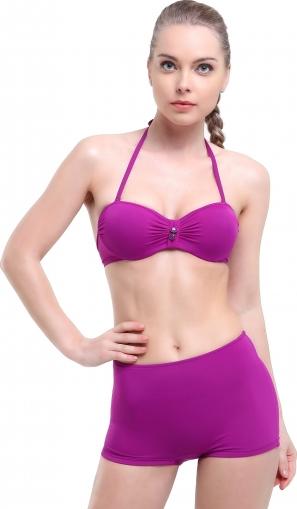 Düz Kaplı Şortlu Straplez Bikini