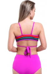Desenli-Fuşya Yüksek Bel Çapraz Bağlamalı Bikini