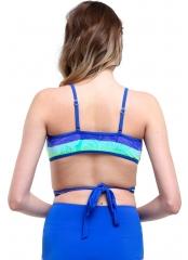 Desenli-Saks Yüksek Bel Çapraz Bağlamalı Bikini