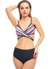 Desenli-Antrasit Yüksek Bel Çapraz Bağlamalı Bikini