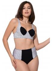 Beyaz Yüksek Bel Push Up Desenli Bikini