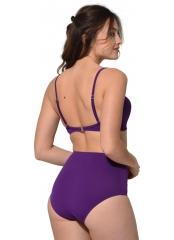 Mor Düz Renkli Geniş Yüksek Bel Bikini