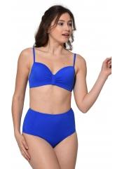 Saks Düz Renkli Geniş Yüksek Bel Bikini