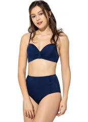 Lacivert Düz Renkli Geniş Yüksek Bel Bikini