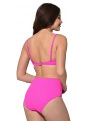 Pembe Düz Renkli Geniş Yüksek Bel Bikini