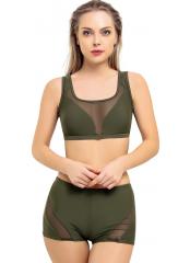 Haki Garnili Tüllü Şortlu Bikini