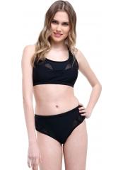 Siyah Büstiyerli Tüllü Bikini