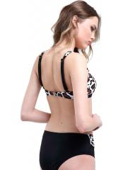 Desenli-Kahverengi Desenli Garnili Bikini