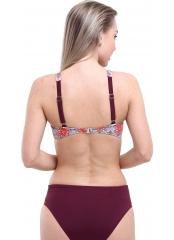 Desenli-Kırmızı Desenli Garnili Bikini