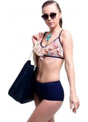 Desenli-Lacivert Desenli Yüksek Bel Fırfırlı Bikini