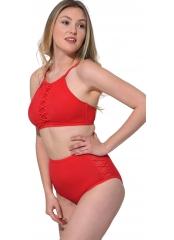 Kırmızı Tüllü Bağcıklı Yüksek Bel Bikini