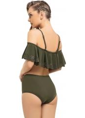 Haki Lazerli Volanlı Püsküllü Straplez Bikini