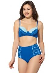 Saks Çizgili Sütyen Kaplı Modelli Bikini
