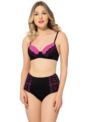 Siyah Çizgili Sütyen Kaplı Modelli Bikini
