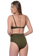 Haki Çizgili Sütyen Kaplı Modelli Bikini
