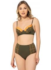Haki Lazer Kesimli Sütyen Kaplı Modelli Bikini