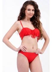 Çeşitli-Kırmızı Düz Püsküllü Straplez Bikini