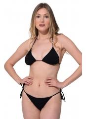 Siyah Düz İpli Bağlı Bikini