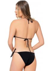 Siyah Düz İpli  Bikini
