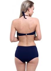Çeşitli-Lacivert Düz Püsküllü Yüksek Bel Bikini