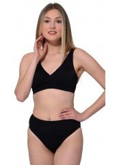 Siyah Düz Kruvaze Bikini