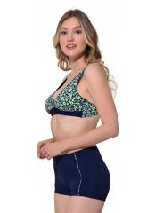 Lacivert Şortlu Desenli Kruvaze Büyük Beden Bikini