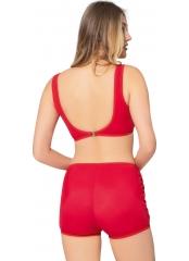 Kırmızı Tüllü Detaylı Şortlu Bikini