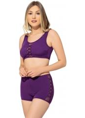 Mor Tüllü Detaylı Şortlu Bikini