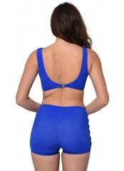 Saks Tüllü Detaylı Şortlu Bikini
