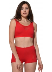 Kırmızı Tüllü Transparan Şortlu Bikini