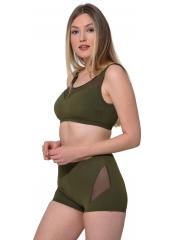 Haki Tüllü Transparan Şortlu Bikini