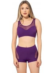 Mor Tüllü Transparan Şortlu Bikini