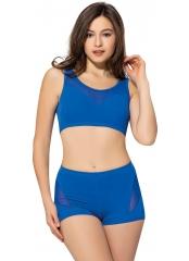 Saks Tüllü Transparan Şortlu Bikini