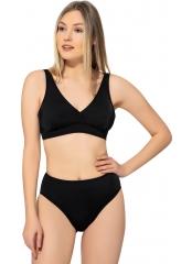 Siyah Düz Kruvaze Büyük Beden Bikini