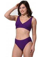 Mor Düz Kruvaze Büyük Beden Bikini