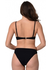 Siyah İnce Askılı Push Up Fiyonklu Büyük Beden Bikini