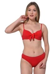 Kırmızı İnce Askılı Push Up Fiyonklu Büyük Beden Bikini