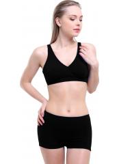 Siyah Düz Kruvaze Şortlu Büyük Beden Bikini