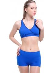 Çeşitli-Saks Düz Kruvaze Şortlu Büyük Beden Bikini