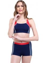 Lacivert Çizgili Modelli Şortlu Yüzücü Bikini