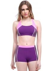 Mor Çizgili Modelli Şortlu Yüzücü Bikini