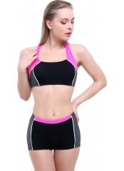 Siyah Çizgili Modelli Şortlu Yüzücü Bikini