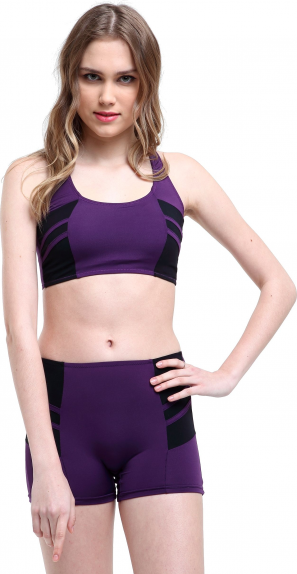 Arka3 Modelli Şeritli Badili Şortlu Bikini