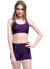 Mor Modelli Şeritli Şortlu Yüzücü Bikini