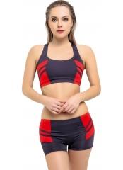 Antrasit Modelli Şeritli Şortlu Yüzücü Bikini